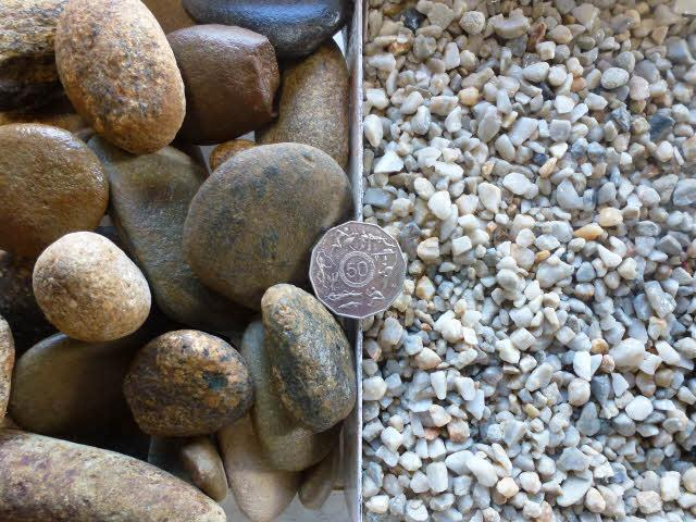 Pebbles stone and toppings generally pebbles will have a rounded appearance and stone will be more crushed with squarer and sharper edges workwithnaturefo